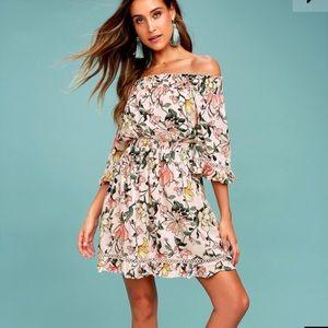 Blush Floral Off the Shoulder Dress
